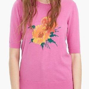 J Crew Tippi Flowers Pink Short Sleeve Sweater XL